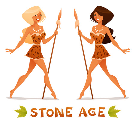 cute cartoon illustration of a beautiful cave woman