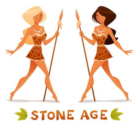 neanderthal women: cute cartoon illustration of a beautiful cave woman