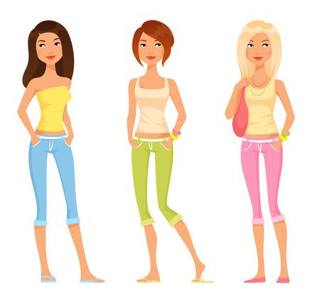 chicas adolescentes: lindas niñas preadolescentes en ropa de moda colorido de verano