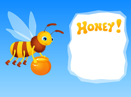 mead: Cute cartoon bee holding a jar with honey