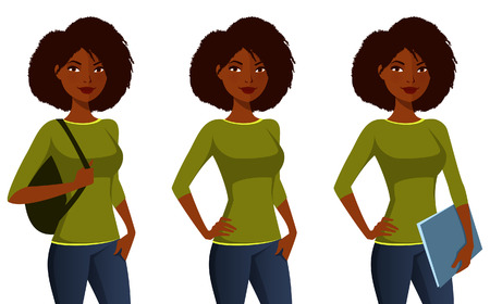 cabello negro: Chica estudiante afroamericano en ropa casual Vectores