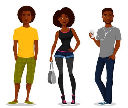 schwarz: Cartoon-Illustration von jungen Menschen