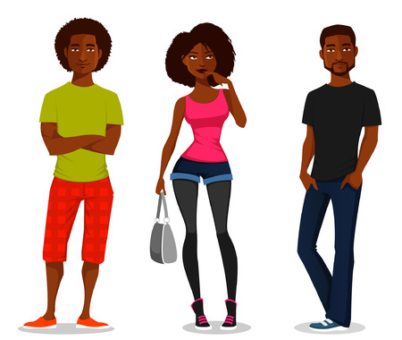 young men: cartoon illustration of young people