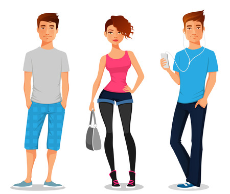boy shorts: cartoon illustration of young people