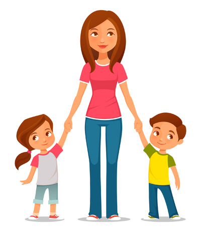 moms: cute cartoon illustration of mother with two kids Illustration