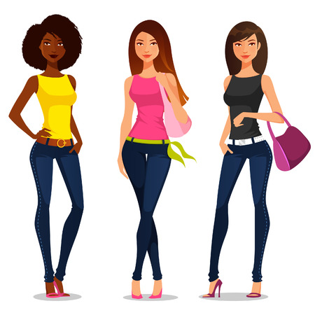 clothes cartoon: young girls in casual summer fashion Illustration