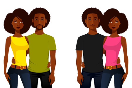 beard woman: young African American people in casual clothes Illustration