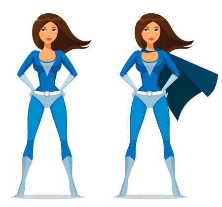 strong girl: cute cartoon girl in superhero costume
