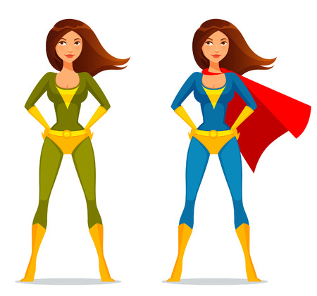 mulher: menina bonito dos desenhos animados no traje do super-her