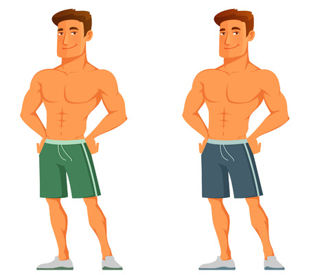 funny cartoon guy flaunting his muscles Vettoriali