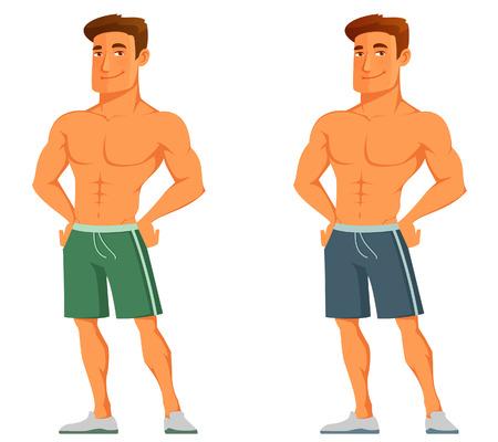 grappige cartoon man pronken met zijn spieren Stock Illustratie
