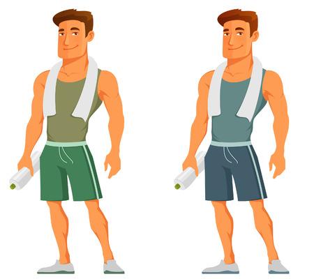 muskeltraining: Cartoon-Typ in der Sportkleidung, mit Handtuch und Wasserflasche