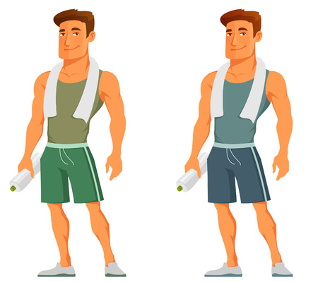 muscle: individuo de la historieta en ropa deportiva, con la toalla y botella de agua