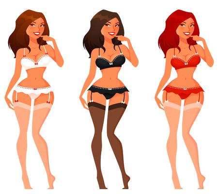 jungen unterw�sche: sexy Cartoon-M�dchen in Dessous Illustration