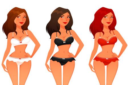 jungen unterwäsche: sexy Cartoon-Mädchen in Dessous Illustration