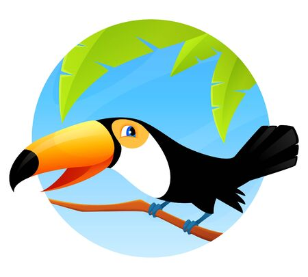 tucan: cute cartoon toucan sitting on a branch Illustration