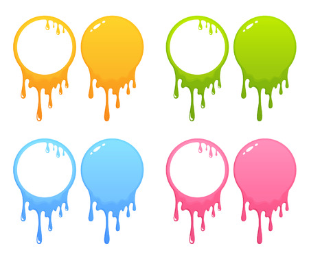 collection of colorful splatter frames of circle shape  イラスト・ベクター素材