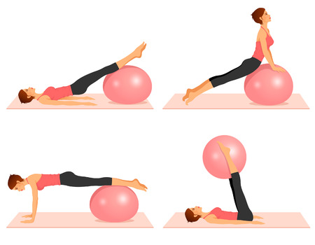 set of illustrations showing pilates exercises with ball