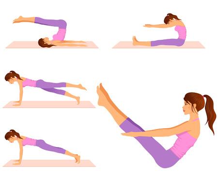 schöne Frau fit machen Pilates-Übungen Vektorgrafik