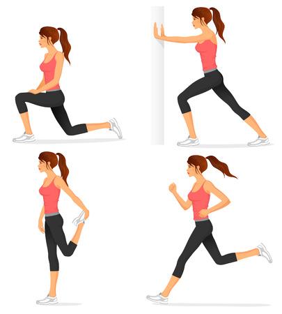 ilustraciones de ejercicios de estiramiento básicos relacionados con trotar