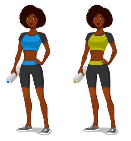 African American girl in sporty outfit, with water bottle after exercising Ilustração