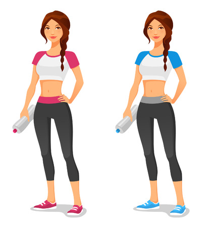 atletismo: Mujer joven del ajuste en ropa deportiva, con botella de agua despu�s del entrenamiento Vectores