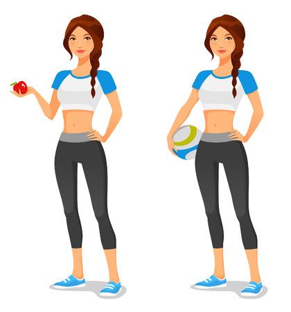 balon de voley: Mujer joven en ropa deportiva, la promoción de estilo de vida saludable