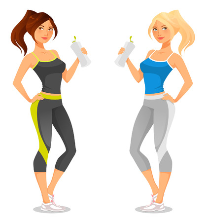 exercise cartoon: fit young woman in sportswear