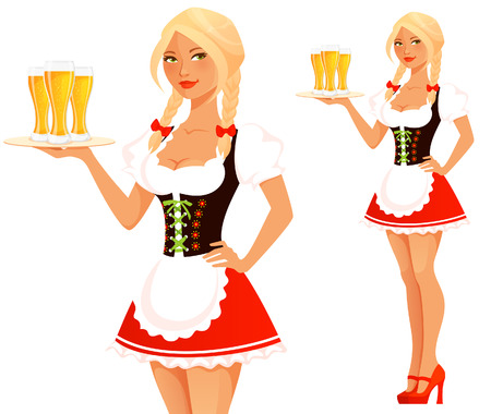 cute Oktoberfest waitress girl serving beer