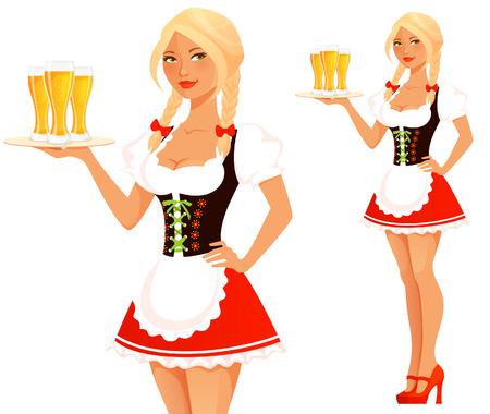 niedliche Oktoberfest Kellnerin Mädchen serviert Bier Illustration