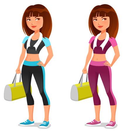 ropa deportiva: linda chica de la aptitud de la historieta con la bolsa de deporte Vectores