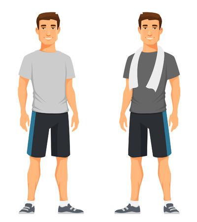hombre flaco: chico joven y guapo en traje de fitness Vectores