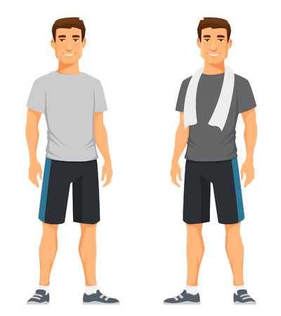 exercise cartoon: handsome young guy in fitness outfit