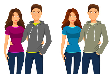 young happy couple in casual clothes Stock Illustratie