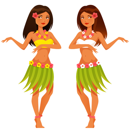 hula girl: beautiful Hawaiian girl dancing in traditional costume