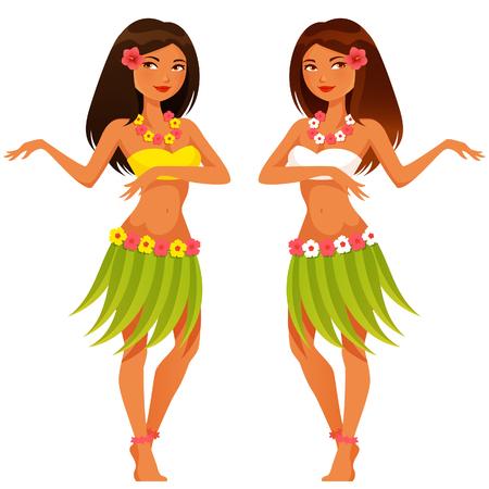hawaiana: hermosa chica bailando hawaiano con el traje tradicional Vectores