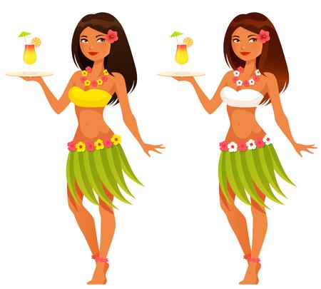 과일 음료를 제공하는 아름다운 하와이 웨이트리스 일러스트