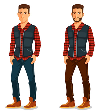 handsome young man: cartoon illustration of a handsome young man in casual outfit