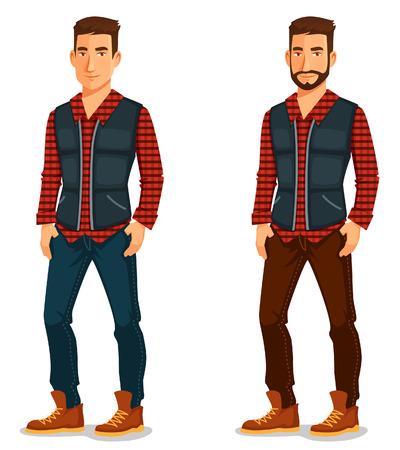 personaje: ilustración de dibujos animados de un hombre joven y guapo en traje casual