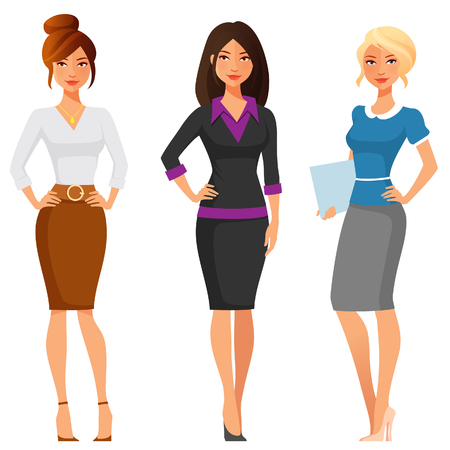 worker cartoon: attractive young women in elegant office clothes