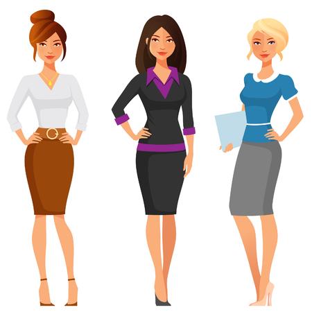 falda: las mujeres jóvenes atractivas en ropa elegante oficina Vectores