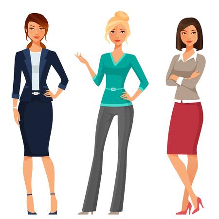 ilustracion: las mujeres jóvenes atractivas en ropa elegante oficina Vectores