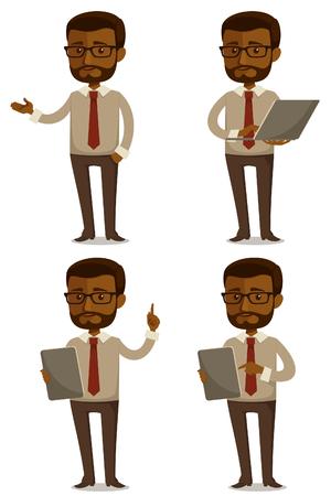 computadora caricatura: hombre de negocios divertidos dibujos animados Vectores
