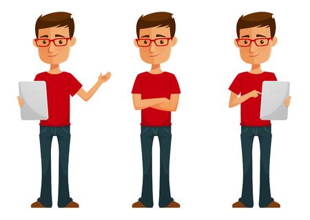 Nette Karikatur Kerl mit Tablette Standard-Bild - 52582275