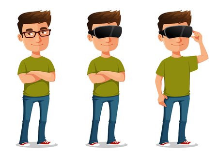 funny cartoon guy using virtual reality glasses