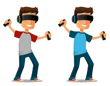 virtual reality simulator: funny cartoon guy using virtual reality glasses