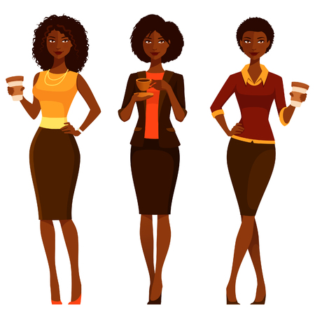 drinking coffee: elegant African American businesswomen with coffee
