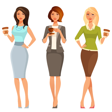 young business: elegant young businesswomen with coffee