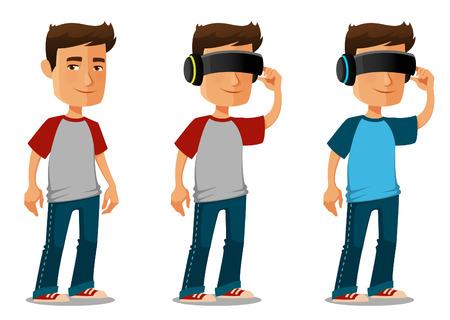 cartoon guy wearing virtual reality glasses
