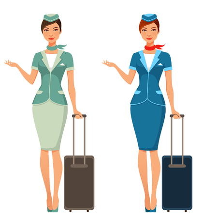airhostess: beautiful stewardess with suitcase